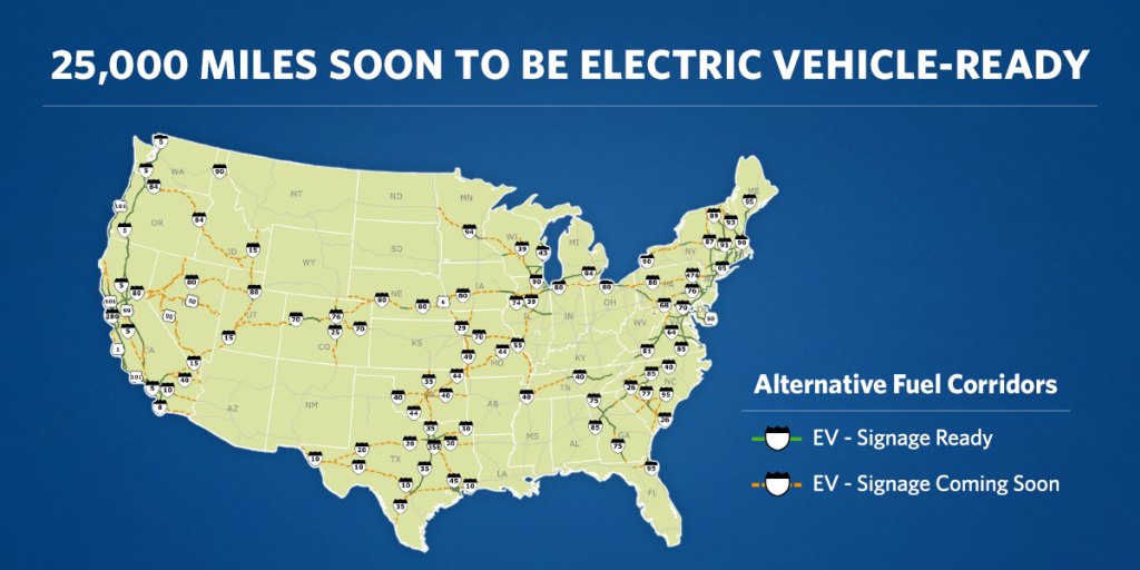 Map of the new US Alternative Fuel Coridoor