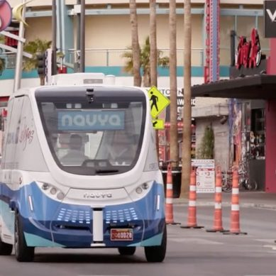 An American first as self-driving buses hit the streets of Vegas